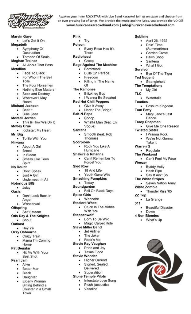 Hurricane Live Band Karaoke Song List pg2