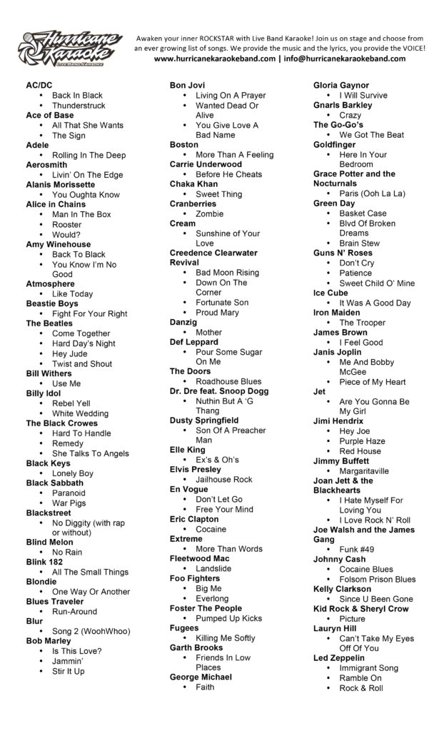 Live Band Karaoke Song List page 1