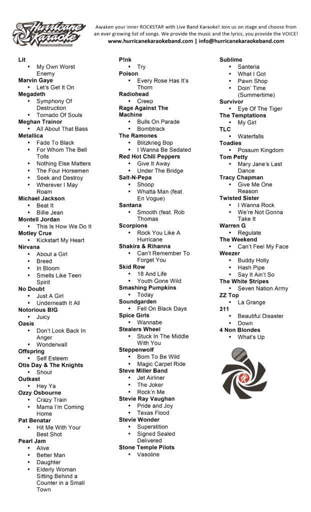 Hurricane Karaoke Band Song List Page 2
